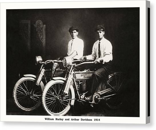 Canvas Print - William Harley And Arthur Davidson 1914 by Bill Cannon