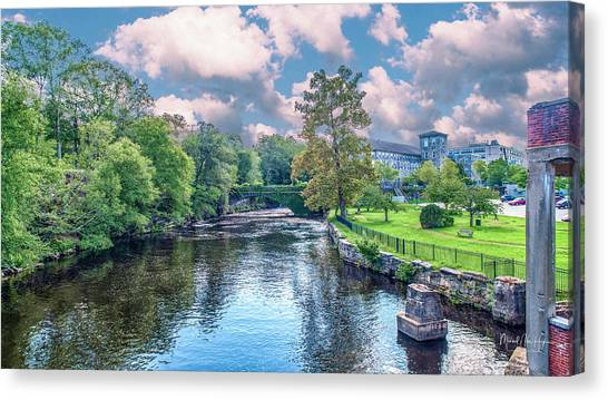 Willimantic River With Clouds Canvas Print