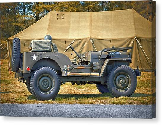 Canvas Print featuring the photograph Willys Jeep U S A 20899516 At Fort Miles by Bill Swartwout Fine Art Photography