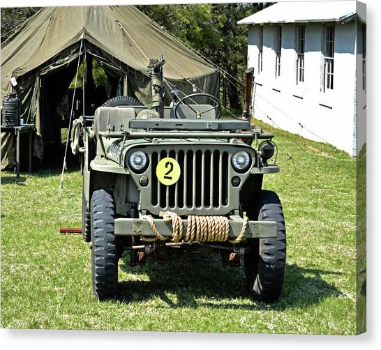 Canvas Print featuring the photograph Willys Jeep With Machine Gun At Fort Miles by Bill Swartwout Fine Art Photography