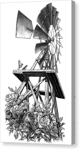 Canvas Print featuring the drawing Windmill by Clint Hansen