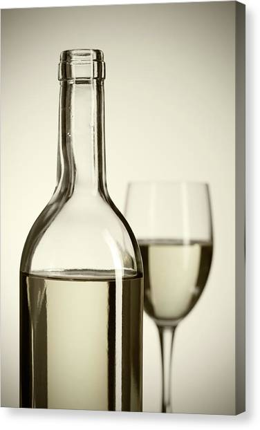 Wine Bottle And Cup Canvas Print