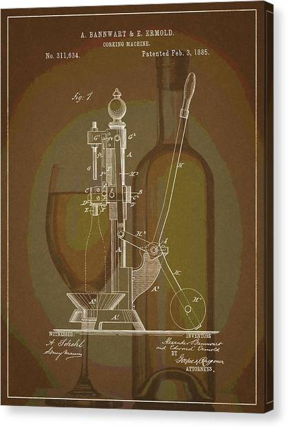 Canvas Print featuring the drawing Wine Bottle Corking Patent by Dan Sproul