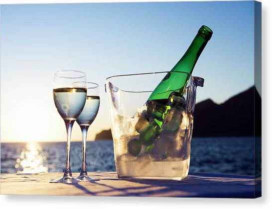 Wine Glasses And Bottle Outdoors Canvas Print