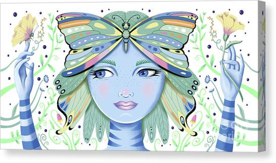 Insect Girl, Winga - White Canvas Print