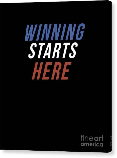Fun Run Canvas Print - Winning Starts Here Running Runner 5k Fun Run Text by Henry B