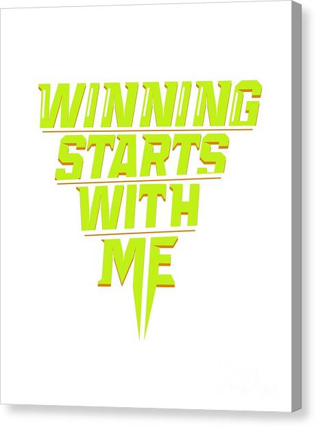 Fun Run Canvas Print - Winning Starts With Me Running Runner 5k Fun Run Green by Henry B