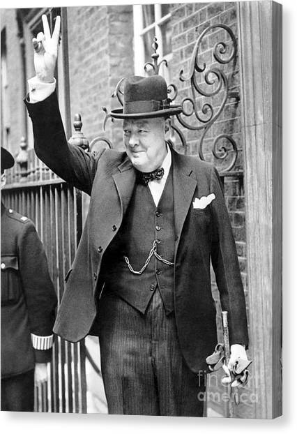 Personality Canvas Print - Winston Churchill Showing The V Sign by English School