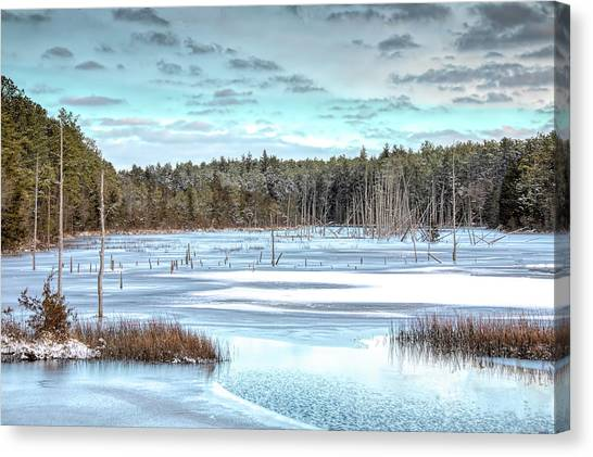 Canvas Print featuring the photograph Winter At Lake Oswego by Kristia Adams