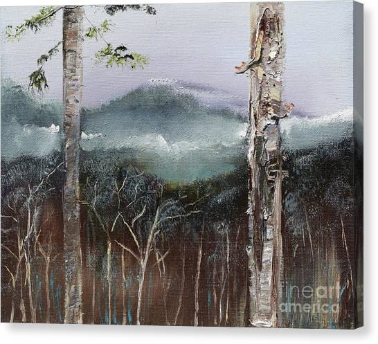 Canvas Print featuring the painting Winter At Pink Knob In Ellijay by Jan Dappen