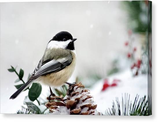 Chickadees Canvas Print - Winter Chickadee by Christina Rollo