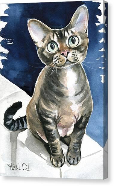 Winter Devon Rex Cat Painting Canvas Print