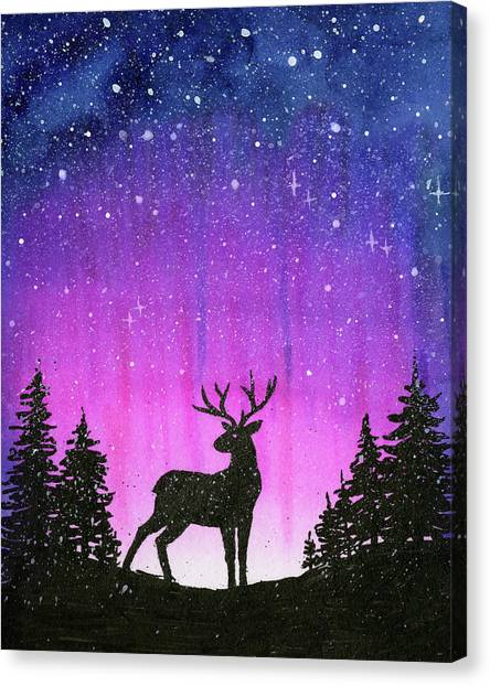 Celestial Canvas Print - Winter Forest Galaxy Reindeer by Olga Shvartsur
