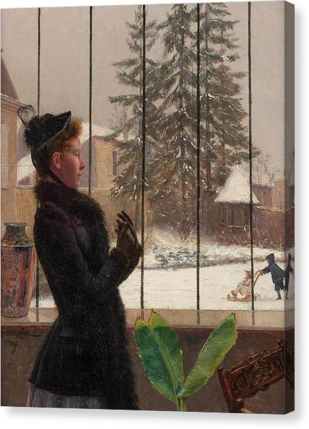 Fabric Of Society Canvas Print - Winter Fun by Adolphe Demange