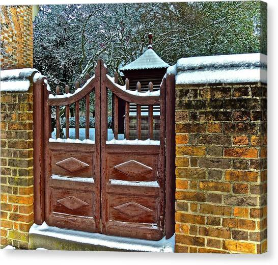 Canvas Print featuring the photograph Winter Gate by Don Moore