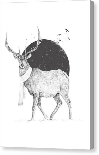 Black And White Canvas Print - Winter Is All Around by Balazs Solti