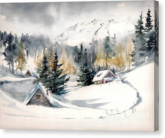 Winter Landscape With Mountain Village Canvas Print by Deepgreen