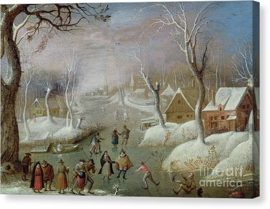 Figure Skating Canvas Print - Winter Landscape With Skaters, 17th Century by Christoffel van den Berghe