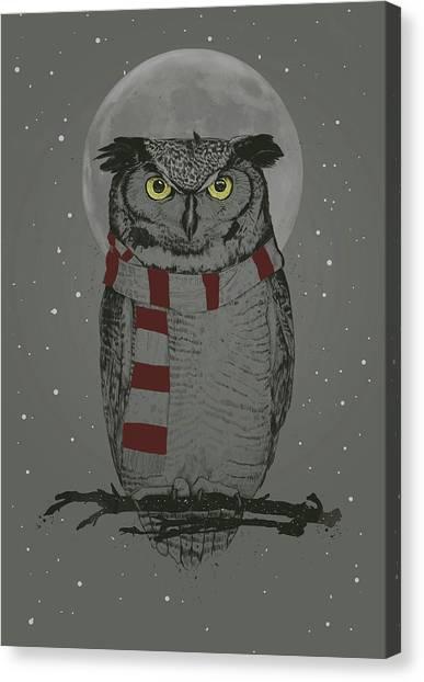 Winter Canvas Print - Winter Owl by Balazs Solti