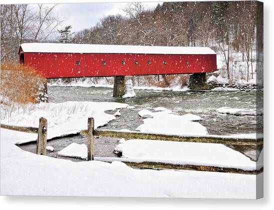 Winter Scene-west Cornwall Covered Bridge Canvas Print