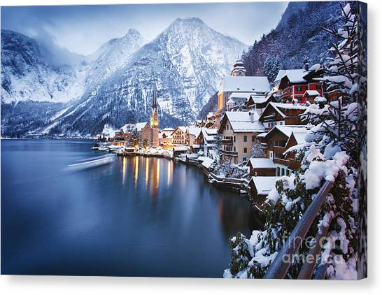 View Canvas Print - Winter View Of Hallstatt, Traditional by Dzerkach Viktar