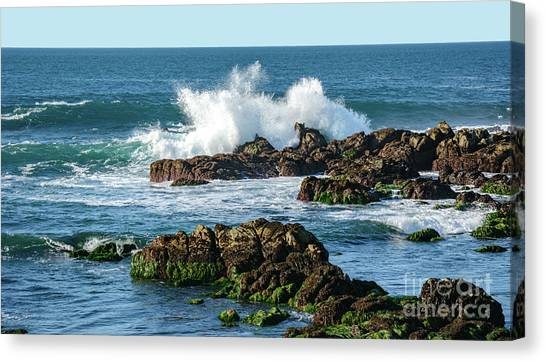 Winter Waves Hit Ancient Rocks No. 2 Canvas Print