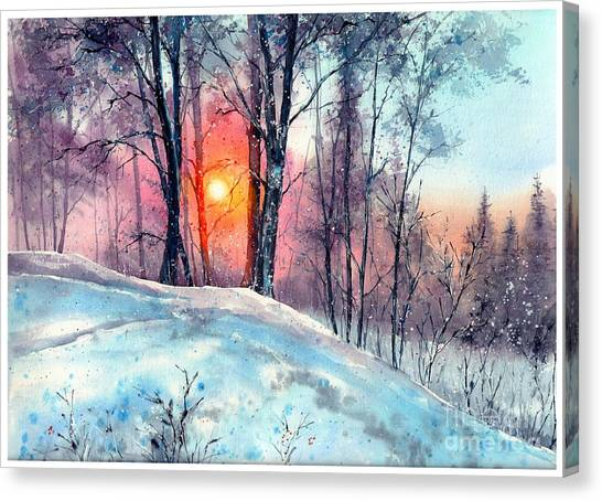 Countryside Canvas Print - Winter Woodland In The Sun by Suzann Sines