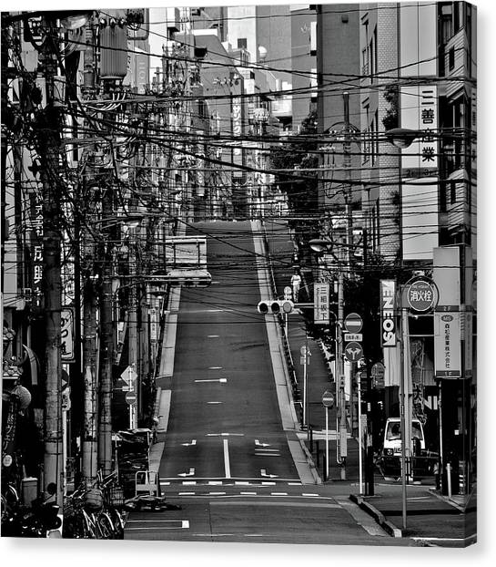 Placard Canvas Print - Wire Street In Yushima by Sinkdd