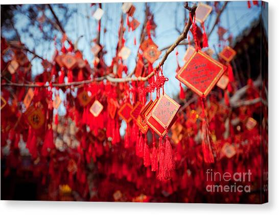 Worship Canvas Print - Wish Cards In A Buddhist Temple In by Tepikina Nastya