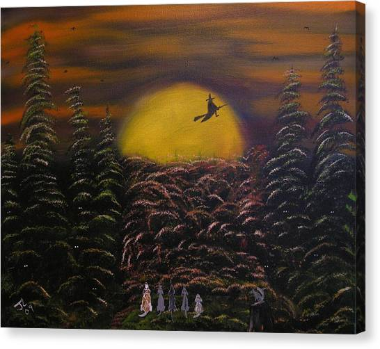 Witch At Night Canvas Print