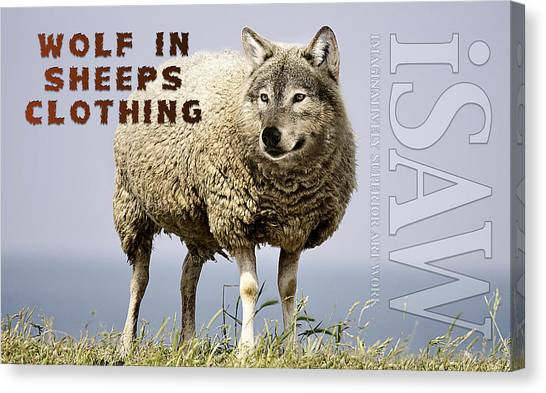 Canvas Print featuring the digital art Wolf In Sheeps Clothing by ISAW Company