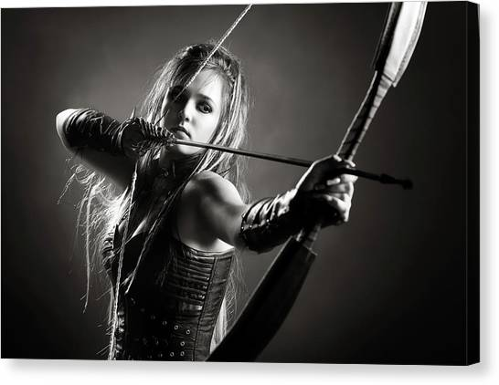 Gloves Canvas Print - Woman Archer Aiming Arrow by Johan Swanepoel