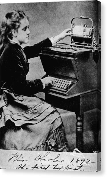 Woman At A Typewriter Canvas Print by Hulton Archive