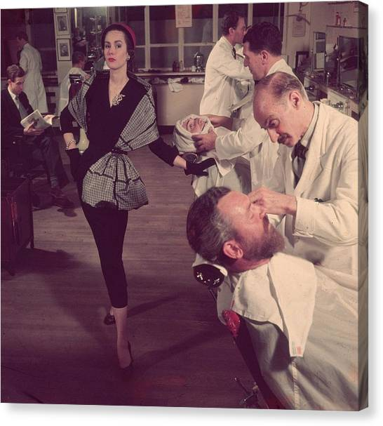 Clothing Store Canvas Print - Woman At Barbers by Zoltan Glass