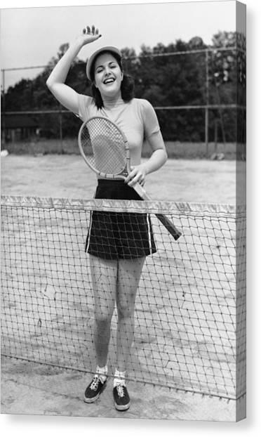 Woman At Tennis Court Canvas Print