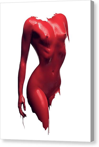 Abstract Nude Canvas Print - Woman Body Red Paint by Johan Swanepoel