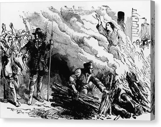 Woman Burned At Stake For Witchcraft Canvas Print by Kean Collection