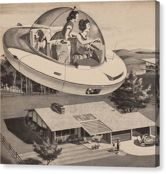 Woman Driving Flying Saucer Canvas Print