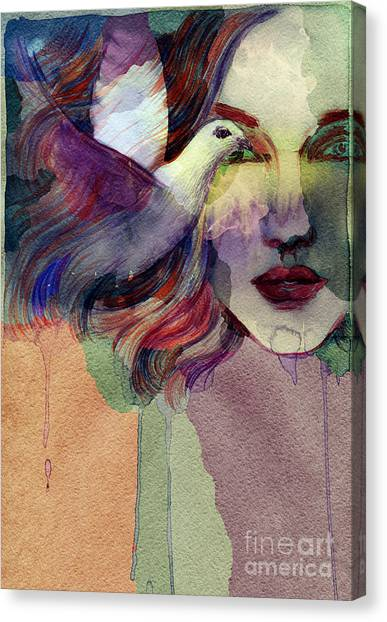 Fitness Canvas Print - Woman Face And Pigeon. Hand Painted by Anna Ismagilova