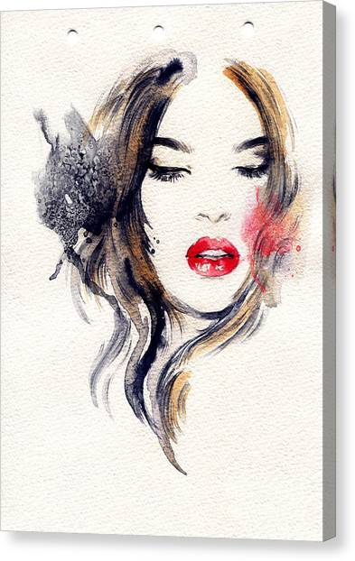 Black And White Canvas Print - Woman Face. Hand Painted Fashion by Anna Ismagilova