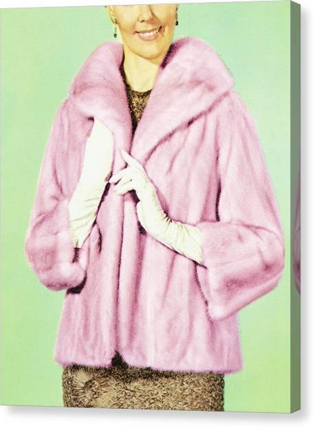 Woman In Fur Coat Canvas Print