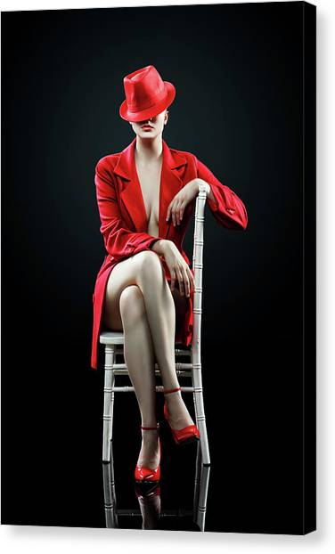 Canvas Print - Woman In Red by Johan Swanepoel
