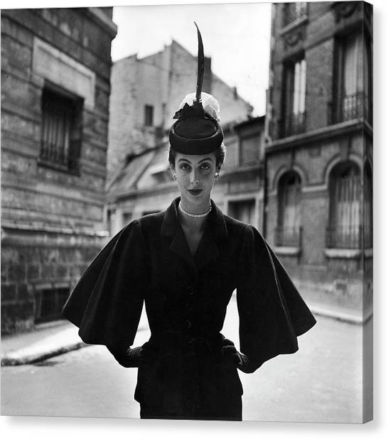 Woman Modeling A Full Sleeved Suit Canvas Print by Gordon Parks