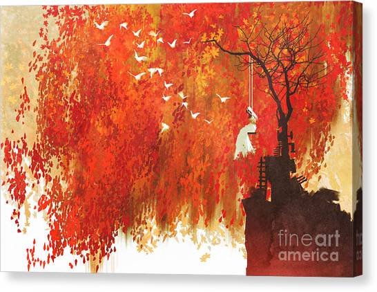 Maple Tree Canvas Print - Woman On A Swing Under Autumn by Tithi Luadthong