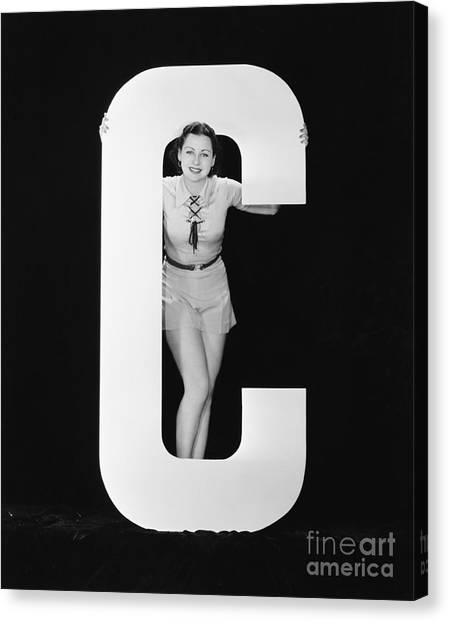Woman Posing With Huge Letter C Canvas Print by Everett Collection
