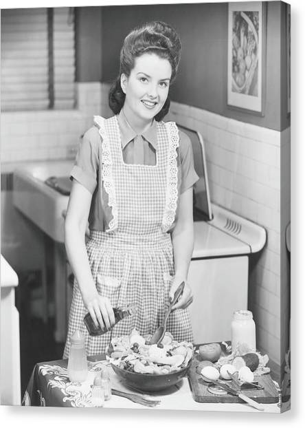 Woman Preparing Salad In Kitchen , B&w Canvas Print by George Marks