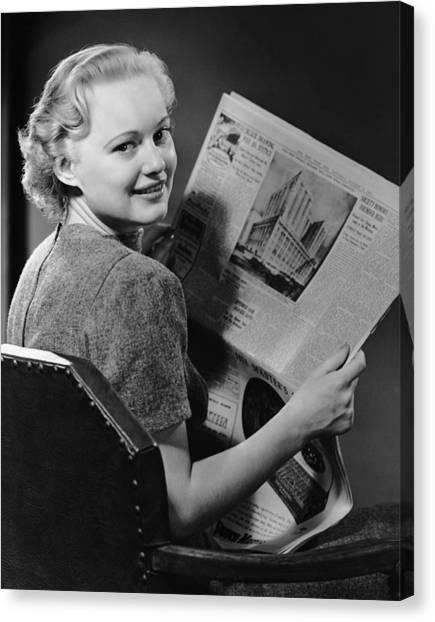 Woman Reading Newspaper Canvas Print