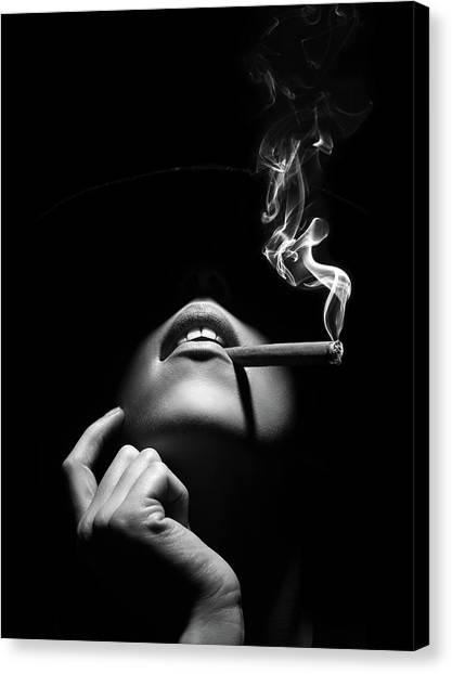 Canvas Print - Woman Smoking A Cigar by Johan Swanepoel