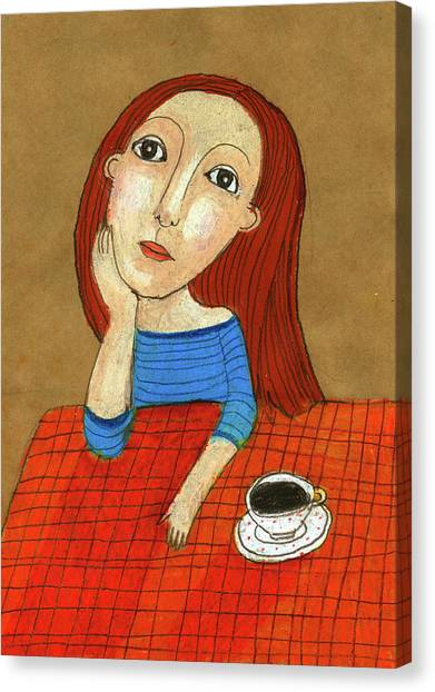 Indoors Canvas Print - Woman Thinking by Jenny Meilihove