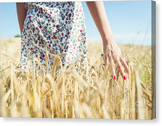 Dress Canvas Print - Woman Walking In The Wheat- Concept by Oneinchpunch